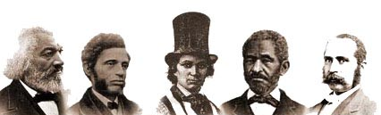Portaits of Famous African-Americans of the 19th century, including Frecerick Douglass, William C. Nell, and Lewis Hayden