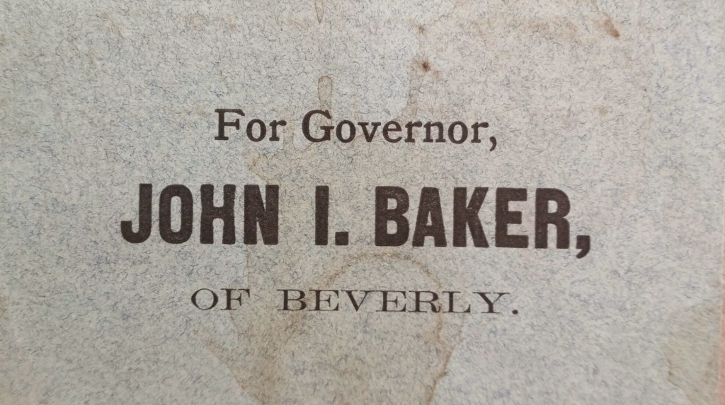 4 1/8 X 2 1/2 Inch Paper Political Ballot. The Hon. John I. Baker was the first mayor of Beverly, MA.  Baker was the Temperance and Greenback party candidate for Governor of Massachusetts in 1875 and 1876.